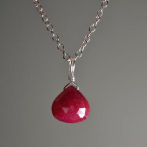 Shop Ruby Necklaces! Genuine Ruby Necklace in Sterling Silver, 14k Gold Fill // July Birthstone // Ruby Anniversary // Dainty Ruby Jewelry // Valentine's Day | Natural genuine Ruby necklaces. Buy crystal jewelry, handmade handcrafted artisan jewelry for women.  Unique handmade gift ideas. #jewelry #beadednecklaces #beadedjewelry #gift #shopping #handmadejewelry #fashion #style #product #necklaces #affiliate #ad