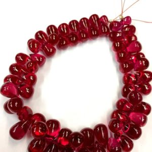 """Extremely Beautiful Very Rare Red Corundum Smooth Teardrop Beads Ruby Teardrop Shape Ruby Gemstone Beads 8"""" Strand Top Quality 