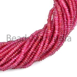 Shop Ruby Rondelle Beads! Longido Ruby Smooth Rondelle Beads, Natural Plain Ruby Rondelle Beads, AAA Quality Beads, Longido Ruby Rondelle Beads, Ruby Rondelle Beads | Natural genuine rondelle Ruby beads for beading and jewelry making.  #jewelry #beads #beadedjewelry #diyjewelry #jewelrymaking #beadstore #beading #affiliate #ad