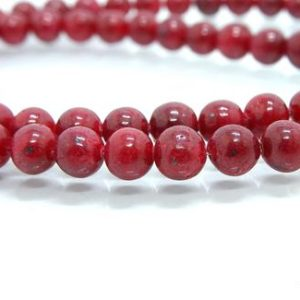 """Shop Ruby Round Beads! RUBY Round Beads, Natural Ruby Round Beads, 6-7MM Round Beads, Round Ruby smooth beads, 20"""" Inch Strand. 