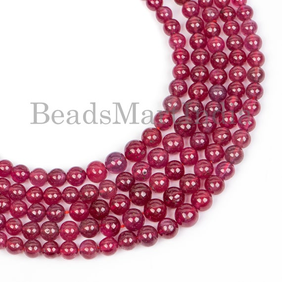 Natural Ruby Plain Round Beads, Natural Ruby Round Beads, Plain Natural Ruby Beads, Natural Ruby Beads, Plain Round Beads