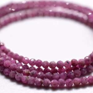 """Shop Ruby Round Beads! Ruby Round Shape Faceted Beads 2.MM Approx 16""""Inches Natural Top Quality Wholesaler Price. 