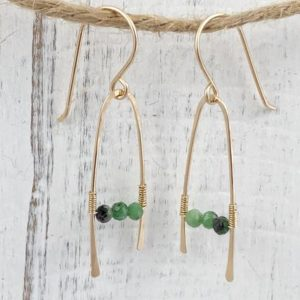 Shop Ruby Zoisite Earrings! Ruby Zoisite and Gold Filled Wire Earrings, Gemstone and Gold Minimalist Earrings, Birthday Gift for Her, Anniversary Gift for Her | Natural genuine Ruby Zoisite earrings. Buy crystal jewelry, handmade handcrafted artisan jewelry for women.  Unique handmade gift ideas. #jewelry #beadedearrings #beadedjewelry #gift #shopping #handmadejewelry #fashion #style #product #earrings #affiliate #ad
