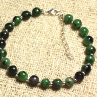 Bracelet 925 Sterling Silver And Stone – Ruby Zoisite 6mm | Natural genuine Gemstone jewelry. Buy crystal jewelry, handmade handcrafted artisan jewelry for women.  Unique handmade gift ideas. #jewelry #beadedjewelry #beadedjewelry #gift #shopping #handmadejewelry #fashion #style #product #jewelry #affiliate #ad