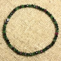 Bracelet 925 Sterling Silver And Stone – Ruby Zoisite Faceted 4x2mm | Natural genuine Gemstone jewelry. Buy crystal jewelry, handmade handcrafted artisan jewelry for women.  Unique handmade gift ideas. #jewelry #beadedjewelry #beadedjewelry #gift #shopping #handmadejewelry #fashion #style #product #jewelry #affiliate #ad