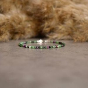 Shop Ruby Zoisite Jewelry! Ruby Zoisite bracelet – bracelet femme, ultra delicate bracelet 2mm Sterling Silver, Natural Ruby Zoisite jewelry, Green Ruby bracelet | Natural genuine Ruby Zoisite jewelry. Buy crystal jewelry, handmade handcrafted artisan jewelry for women.  Unique handmade gift ideas. #jewelry #beadedjewelry #beadedjewelry #gift #shopping #handmadejewelry #fashion #style #product #jewelry #affiliate #ad