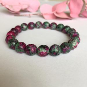 Shop Ruby Zoisite Bracelets! Ruby Zoisite Bracelet, Unisex Bracelet, 8mm Gemstone Beads, Mens Woman Bracelet, Energy Bracelet, Healing Bracelet, Mens Gift For Girlfriend | Natural genuine Ruby Zoisite bracelets. Buy handcrafted artisan men's jewelry, gifts for men.  Unique handmade mens fashion accessories. #jewelry #beadedbracelets #beadedjewelry #shopping #gift #handmadejewelry #bracelets #affiliate #ad