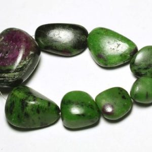 Shop Ruby Zoisite Chip & Nugget Beads! 8.5 Inches Strand Natural Ruby Ziosite Nuggets 15mm to 37mm Smooth Gemstone Beads Rare Ruby Ziosite Beads No3275 | Natural genuine chip Ruby Zoisite beads for beading and jewelry making.  #jewelry #beads #beadedjewelry #diyjewelry #jewelrymaking #beadstore #beading #affiliate #ad
