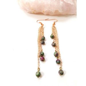 Shop Ruby Zoisite Earrings! Ruby zoisite earrings, chain earrings, long length drop earrings, gemstone earrings, ruby zoisite jewelry, gemstone jewelry, ruby earrings | Natural genuine Ruby Zoisite earrings. Buy crystal jewelry, handmade handcrafted artisan jewelry for women.  Unique handmade gift ideas. #jewelry #beadedearrings #beadedjewelry #gift #shopping #handmadejewelry #fashion #style #product #earrings #affiliate #ad