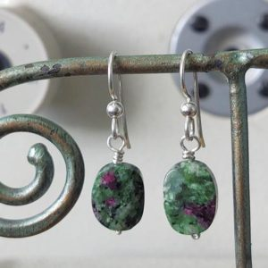 Shop Ruby Zoisite Earrings! Ruby Zoisite Earrings | Mental Health Jewelry | Handmade Dangly Statement Red Green Earring | Positive Energy Crystal | Green purple stone | Natural genuine Ruby Zoisite earrings. Buy crystal jewelry, handmade handcrafted artisan jewelry for women.  Unique handmade gift ideas. #jewelry #beadedearrings #beadedjewelry #gift #shopping #handmadejewelry #fashion #style #product #earrings #affiliate #ad