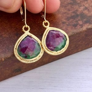 Shop Ruby Zoisite Earrings! Ruby Zoisite Earrings, Pink and Green Teardrop Earrings, Ruby in Fuchsite Gold Dangle Earrings, Anyolite Drop Earrings, Pink Gift for women | Natural genuine Ruby Zoisite earrings. Buy crystal jewelry, handmade handcrafted artisan jewelry for women.  Unique handmade gift ideas. #jewelry #beadedearrings #beadedjewelry #gift #shopping #handmadejewelry #fashion #style #product #earrings #affiliate #ad