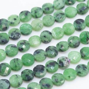 Shop Ruby Zoisite Faceted Beads! Genuine Natural Ruby Zoisite Loose Beads Grade AAA Faceted Flat Round Button Shape 6x4mm | Natural genuine faceted Ruby Zoisite beads for beading and jewelry making.  #jewelry #beads #beadedjewelry #diyjewelry #jewelrymaking #beadstore #beading #affiliate #ad