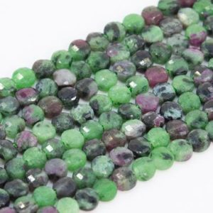 Shop Ruby Zoisite Faceted Beads! Genuine Natural Ruby Zoisite Loose Beads Grade AAA Faceted Flat Round Button Shape 4mm | Natural genuine faceted Ruby Zoisite beads for beading and jewelry making.  #jewelry #beads #beadedjewelry #diyjewelry #jewelrymaking #beadstore #beading #affiliate #ad