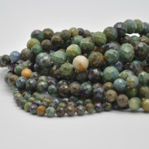 """Shop Ruby Zoisite Faceted Beads! High Quality Grade A Natural Ruby Zoisite Semi-precious Gemstone FACETED Round Beads – 6mm, 8mm, 10mm sizes – Approx 15"""" strand 
