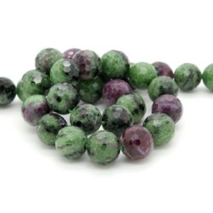 Shop Ruby Zoisite Faceted Beads! Natural Red Green Ruby, Red Green Ruby Zoisite Faceted Sphere Ball Round Natural Gemstone Beads Stones – 10mm | Natural genuine faceted Ruby Zoisite beads for beading and jewelry making.  #jewelry #beads #beadedjewelry #diyjewelry #jewelrymaking #beadstore #beading #affiliate #ad