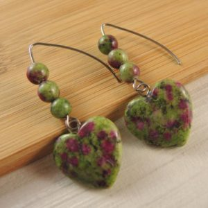 Shop Ruby Zoisite Earrings! Ruby Zoisite Gemstone Heart, Statement Pair, Dangle Fashion, Beaded Earrings, Stainless Steel Hooks # 1539 | Natural genuine Ruby Zoisite earrings. Buy crystal jewelry, handmade handcrafted artisan jewelry for women.  Unique handmade gift ideas. #jewelry #beadedearrings #beadedjewelry #gift #shopping #handmadejewelry #fashion #style #product #earrings #affiliate #ad