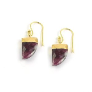 Shop Ruby Zoisite Earrings! Ruby Zoisite Horn Shape Electroplating Earring Gold plated | Natural genuine Ruby Zoisite earrings. Buy crystal jewelry, handmade handcrafted artisan jewelry for women.  Unique handmade gift ideas. #jewelry #beadedearrings #beadedjewelry #gift #shopping #handmadejewelry #fashion #style #product #earrings #affiliate #ad