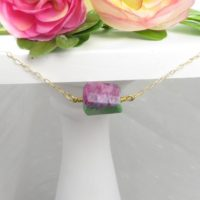 Ruby Zoisite Natural Cut Pendant Choker Or Necklace – Gold Filled Chain | Natural genuine Gemstone jewelry. Buy crystal jewelry, handmade handcrafted artisan jewelry for women.  Unique handmade gift ideas. #jewelry #beadedjewelry #beadedjewelry #gift #shopping #handmadejewelry #fashion #style #product #jewelry #affiliate #ad