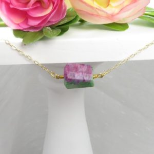 Shop Ruby Zoisite Necklaces! Ruby Zoisite Natural Cut Pendant Choker or Necklace – Gold Filled Chain | Natural genuine Ruby Zoisite necklaces. Buy crystal jewelry, handmade handcrafted artisan jewelry for women.  Unique handmade gift ideas. #jewelry #beadednecklaces #beadedjewelry #gift #shopping #handmadejewelry #fashion #style #product #necklaces #affiliate #ad