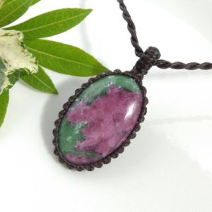 Shop Ruby Zoisite Necklaces! Ruby Zoisite necklace, Green Ruby Zoisite pendant, Macrame Necklace Pendant, Ruby Zoisite Macrame necklace, Ruby Zoisite, anniversary gift | Natural genuine Ruby Zoisite necklaces. Buy crystal jewelry, handmade handcrafted artisan jewelry for women.  Unique handmade gift ideas. #jewelry #beadednecklaces #beadedjewelry #gift #shopping #handmadejewelry #fashion #style #product #necklaces #affiliate #ad