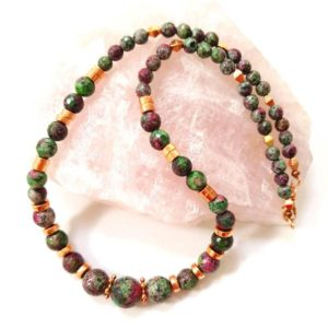 Shop Ruby Zoisite Necklaces! Ruby zoisite necklace, ruby zoisite jewelry, gemstone jewelry, gemstone necklace, beaded necklace, chunky beaded necklace, healing jewelry | Natural genuine Ruby Zoisite necklaces. Buy crystal jewelry, handmade handcrafted artisan jewelry for women.  Unique handmade gift ideas. #jewelry #beadednecklaces #beadedjewelry #gift #shopping #handmadejewelry #fashion #style #product #necklaces #affiliate #ad