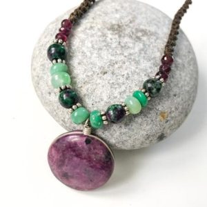Shop Ruby Zoisite Necklaces! Ruby zoisite necklace, Natural Ruby zoisite beaded necklace, Adjustable necklace, Round shape Ruby zoisite pendant necklace, Watermelon Ruby | Natural genuine Ruby Zoisite necklaces. Buy crystal jewelry, handmade handcrafted artisan jewelry for women.  Unique handmade gift ideas. #jewelry #beadednecklaces #beadedjewelry #gift #shopping #handmadejewelry #fashion #style #product #necklaces #affiliate #ad