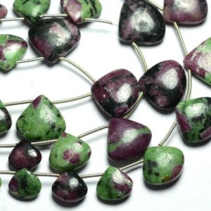 Shop Ruby Zoisite Bead Shapes! 9 Inches Strand Natural Ruby Ziosite Heart Beads 9x10mm to 17x18mm Smooth Heart Briolettes Gemstone Beads Rare Ruby Ziosite Beads No4706 | Natural genuine other-shape Ruby Zoisite beads for beading and jewelry making.  #jewelry #beads #beadedjewelry #diyjewelry #jewelrymaking #beadstore #beading #affiliate #ad