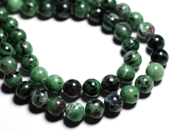 Wire 39cm 37pc Env - Stone Beads - Ruby Zoisite Balls 10 Mm