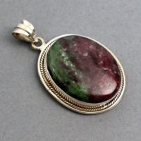 Ruby Zoisite Pendant 1.9″ Sterling Silver Jewelry, Birthstone Jewelry Gemini, Ruby Zoisite Jewelry Sterling Silver 925 | Natural genuine Gemstone jewelry. Buy crystal jewelry, handmade handcrafted artisan jewelry for women.  Unique handmade gift ideas. #jewelry #beadedjewelry #beadedjewelry #gift #shopping #handmadejewelry #fashion #style #product #jewelry #affiliate #ad