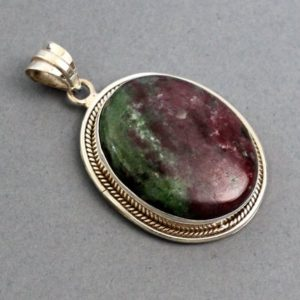 """Shop Ruby Zoisite Pendants! Ruby Zoisite Pendant 1.9"""" Sterling Silver jewelry, birthstone jewelry Gemini, Ruby Zoisite jewelry sterling silver 925 