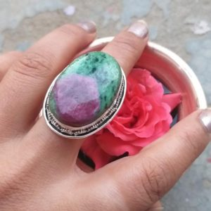 Ruby Zoisite Ring, 925 silver ring, Engagement Ring, Designer ring, Boho jewelry, Gift For Her, wedding gift, Ruby Zoisite jewelry, gypsy | Natural genuine Gemstone rings, simple unique alternative gemstone engagement rings. #rings #jewelry #bridal #wedding #jewelryaccessories #engagementrings #weddingideas #affiliate #ad