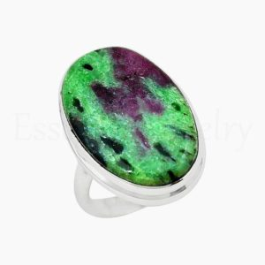 Shop Ruby Zoisite Rings! Beautiful Ruby Zoisite Ring, Silver Jewelry, 925 Sterling Silver, Oval Gemstone, Statement Ring, Simple Band Ring, Cabochon Gemstone, Boho | Natural genuine Ruby Zoisite rings, simple unique handcrafted gemstone rings. #rings #jewelry #shopping #gift #handmade #fashion #style #affiliate #ad