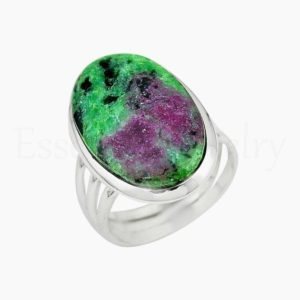 Shop Ruby Zoisite Rings! Cute Ruby Zoisite Ring, Women's Jewelry, 925 Sterling Silver, Oval Gemstone, Statement Ring, Triple Band Ring, Cabochon Gemstone, Sale Ring | Natural genuine Ruby Zoisite rings, simple unique handcrafted gemstone rings. #rings #jewelry #shopping #gift #handmade #fashion #style #affiliate #ad