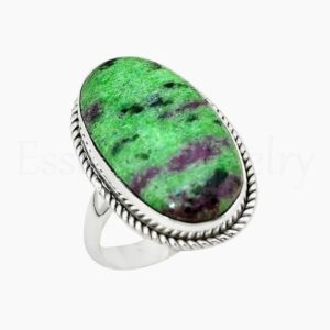 Shop Ruby Zoisite Rings! Ruby Zoisite Ring, Women's Jewelry, 925 Sterling Silver, Oval Gemstone, Statement Ring, Simple Band Ring, Cabochon Gemstone, Twisted Bezel | Natural genuine Ruby Zoisite rings, simple unique handcrafted gemstone rings. #rings #jewelry #shopping #gift #handmade #fashion #style #affiliate #ad
