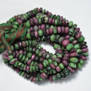 Shop Ruby Zoisite Rondelle Beads! Ruby Zoisite Rondelle Beads, Ruby Zoisite Faceted Beads, Ruby Zoisite Cut Rondelle Beads, Beads For Necklace, 7mm, 8 Inches Strand # BD24 | Natural genuine rondelle Ruby Zoisite beads for beading and jewelry making.  #jewelry #beads #beadedjewelry #diyjewelry #jewelrymaking #beadstore #beading #affiliate #ad