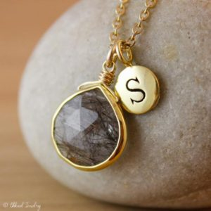 Shop Rutilated Quartz Jewelry! Black Rutile Quartz Necklace – Stamped Letter Necklace – 14K GF | Natural genuine Rutilated Quartz jewelry. Buy crystal jewelry, handmade handcrafted artisan jewelry for women.  Unique handmade gift ideas. #jewelry #beadedjewelry #beadedjewelry #gift #shopping #handmadejewelry #fashion #style #product #jewelry #affiliate #ad
