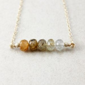 Shop Rutilated Quartz Jewelry! Golden Rutile Quartz Ombre Necklace, Gold or Silver, Bar Necklace | Natural genuine Rutilated Quartz jewelry. Buy crystal jewelry, handmade handcrafted artisan jewelry for women.  Unique handmade gift ideas. #jewelry #beadedjewelry #beadedjewelry #gift #shopping #handmadejewelry #fashion #style #product #jewelry #affiliate #ad