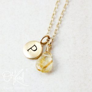 Shop Rutilated Quartz Necklaces! Golden Rutile Quartz Personalized Necklace, Hand Stamped Initial | Natural genuine Rutilated Quartz necklaces. Buy crystal jewelry, handmade handcrafted artisan jewelry for women.  Unique handmade gift ideas. #jewelry #beadednecklaces #beadedjewelry #gift #shopping #handmadejewelry #fashion #style #product #necklaces #affiliate #ad