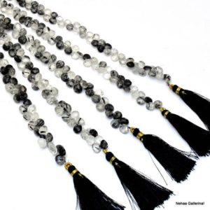 "Shop Rutilated Quartz Bead Shapes! AAA+ Rutilated Quartz Gemstone Briolette Beads | 6mm Heart 8"" Strand 