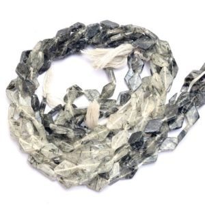 Shop Rutilated Quartz Bead Shapes! Black Rutilated Quartz Kite Beads | 7x11mm Smooth Beads 14inch Strand | Natural Black Rutile Semi Precious Gemstone Fancy Beads for Jewelry | Natural genuine other-shape Rutilated Quartz beads for beading and jewelry making.  #jewelry #beads #beadedjewelry #diyjewelry #jewelrymaking #beadstore #beading #affiliate #ad