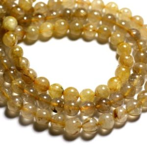 Shop Rutilated Quartz Bead Shapes! Wire 39cm 45pc env-stone beads-rutile quartz gold plated 8mm balls | Natural genuine other-shape Rutilated Quartz beads for beading and jewelry making.  #jewelry #beads #beadedjewelry #diyjewelry #jewelrymaking #beadstore #beading #affiliate #ad