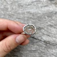 Rutile Quartz Ring, Unisex Ring, Sterling Silver Ring, Rutile Quartz Jewelry, Us Size 7 | Natural genuine Gemstone jewelry. Buy crystal jewelry, handmade handcrafted artisan jewelry for women.  Unique handmade gift ideas. #jewelry #beadedjewelry #beadedjewelry #gift #shopping #handmadejewelry #fashion #style #product #jewelry #affiliate #ad