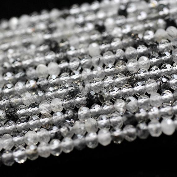 Black Rutilated Quartz Faceted Beads, Natural Gemstone Beads, Rondelle Genuine Stone Beads 2x3mm 3x4mm 15''