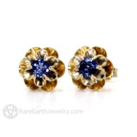 Blue Sapphire Earrings 14k Sapphire Stud Earrings Floral Buttercup Flower Posts September Birthstone | Natural genuine Gemstone jewelry. Buy crystal jewelry, handmade handcrafted artisan jewelry for women.  Unique handmade gift ideas. #jewelry #beadedjewelry #beadedjewelry #gift #shopping #handmadejewelry #fashion #style #product #jewelry #affiliate #ad
