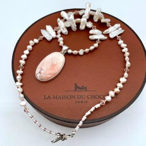 Shop Scolecite Necklaces! Scolecite and Freshwater Pearl Pendant Necklace. | Natural genuine Scolecite necklaces. Buy crystal jewelry, handmade handcrafted artisan jewelry for women.  Unique handmade gift ideas. #jewelry #beadednecklaces #beadedjewelry #gift #shopping #handmadejewelry #fashion #style #product #necklaces #affiliate #ad