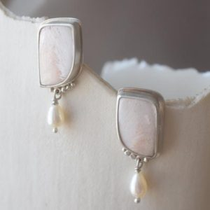 Shop Scolecite Earrings! Scolecite and Pearl in Silver Earrings | Natural genuine Scolecite earrings. Buy crystal jewelry, handmade handcrafted artisan jewelry for women.  Unique handmade gift ideas. #jewelry #beadedearrings #beadedjewelry #gift #shopping #handmadejewelry #fashion #style #product #earrings #affiliate #ad