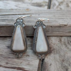 Shop Scolecite Earrings! Scolecite Stone Sterling Silver Handmade Earring Scolecite Stone Daily wearable Earrings in Triangle Shape Boho Earrings Gift for Her | Natural genuine Scolecite earrings. Buy crystal jewelry, handmade handcrafted artisan jewelry for women.  Unique handmade gift ideas. #jewelry #beadedearrings #beadedjewelry #gift #shopping #handmadejewelry #fashion #style #product #earrings #affiliate #ad