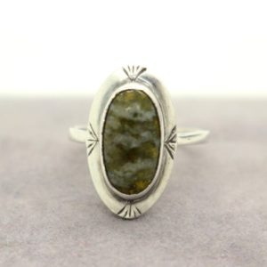 Shop Serpentine Rings! Scottish Real Sterling Silver Green Cabochon Serpentine Ring sz M 1/2 US 6 1/2 Christmas Birthday Sweetheart Gift for Her | Natural genuine Serpentine rings, simple unique handcrafted gemstone rings. #rings #jewelry #shopping #gift #handmade #fashion #style #affiliate #ad