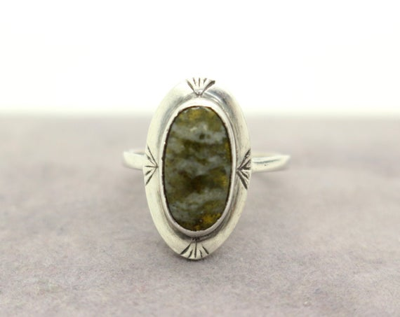 Scottish Real Sterling Silver Green Cabochon Serpentine Ring Sz M 1/2 Us 6 1/2 Christmas Birthday Sweetheart Gift For Her
