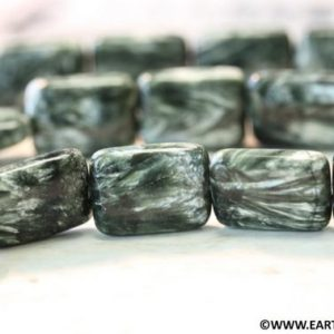 Shop Seraphinite Beads! L/ Seraphinite 15x20mm Flat Rectangle. 20pc Full strand. Genuine Russian Green Seraphinite large size rectangle beads. Natural gemstones | Natural genuine other-shape Seraphinite beads for beading and jewelry making.  #jewelry #beads #beadedjewelry #diyjewelry #jewelrymaking #beadstore #beading #affiliate #ad